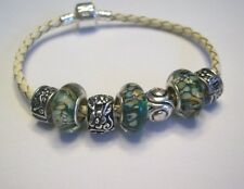 Champagne Leather Braided Charm Bracelet Emerald Green Murano Glass Beads