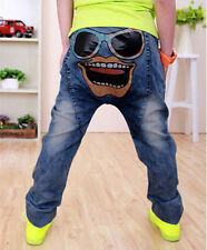 Boys Clothes age 3-8 Blue Girl Boys skinny jeans Graphic Funny Face Harem Pants