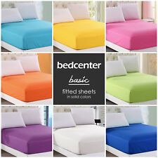 SOLID COLOR FITTED SHEET TWIN FULL QUEEN KING 100% COTTON 21 COLORS BED SHEET