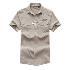 Mens Quick Dry Casual Hiking Breathable Polyester Khaki Short Sleeve Shirt 08602