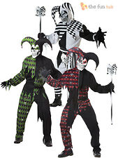 Mens Adult Evil Jester Halloween Fancy Dress Costume Scary Medieval Joker Outfit