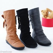Womens Synthetic Leather Flat Shoes Round Toe Platform Mid Calf Boots AU Sz O130