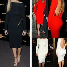 #gib Women Sexy Backless Bodycon Tight Long Sleeve Evening Party Dress