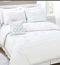 280TC White Pintuck Ruffle Flora Embroidery * KING QUEEN QUILT DOONA COVER SET