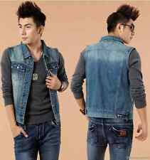 Men's Classics Washed Blue Denim Vest Jeans Sleeveless Cowboy Jacket Vest S-XXXL