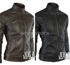 Men Slim Fit Stand Collar Motorcycle Leather Jacket Outwear Coat W2086 MUK