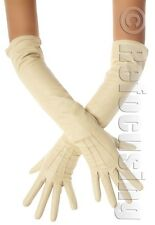 LONG NATURAL TAN LEATHER OPERA GLOVES VINTAGE STYLE