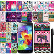 For Samsung Galaxy S5 G900 I9600 Cute Design PATTERN HARD Case Back Cover + Pen