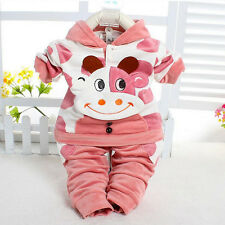 Two-piece Kids Girls Toddler Velvet Hoody Pants Cattle Calf Hoodie Set Outfits A