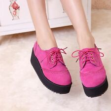Womens Chic Wedge Heel Platform Creepers Lace Up Brogue Oxfords Shoes Plus Size9