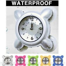 Waterproof Strong Suction Glass Tile Wall Window Mirror Bath Shower Clock Watch