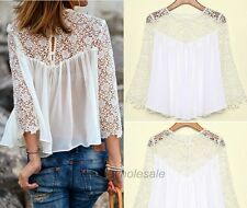 Sexy Ladies Women Blouse Casual White Lace Shirts Chiffon Blouses T Shirt Tops