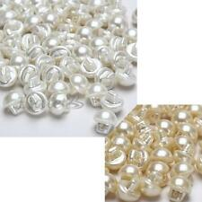 50 Pcs Pearl Domed Round Cap Half Ball Buttons Sewing DIY Making