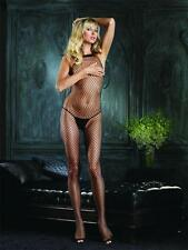 VARIOUS COLOURS Sex y High Halter Neck Industrial Net Crotchless Bodystocking