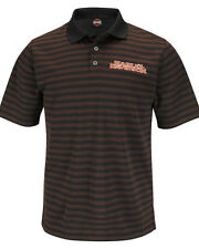 Harley-Davidson Mens Stay-Dry Black & Orange Striped Synthetic Polo Shirt