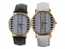 Unisex Girl Boy Golden Case Geometric Print PU Leather Band Quartz Wrist Watch