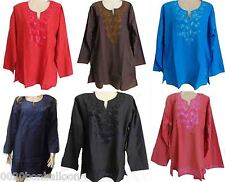 Egyptian Cotton Embroidered Kaftan Caftan Qamis Casual Shirt Top Boho Hippie