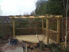 Wooden Garden Corner Pergola & Decking - Delivered and Handbuilt onsite