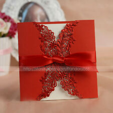 Pretty Floral Cut-out Wedding Invitation Card With Bowknot & Envelope and Seal