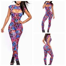Sexy Womens Sleeveless Hollow Digital Printed Party Bodycon Jumpsuits Clubwear