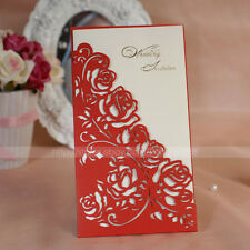 Delicate Floral Cut-out Red Wedding Invitation Card & Envelope and Seal