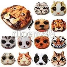 Cute Animal Dog Cat Face Coin Change Zip Purse Pouch Pocket Mini Hand Bag Wallet