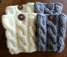 Handmade cable Knitted Boot Cuffs - Boot toppers, Boot socks choose your colors
