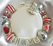 PERSONALISED CHILDRENS/GIRLS/LADIES CHARM BRACELET BEAD  ANY NAME RED & SILVER