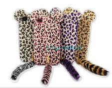"""3D Furry Feather Plush Leopard TPU Back Cover Case with tail F Iphone 4 5 6 4.7"""""""