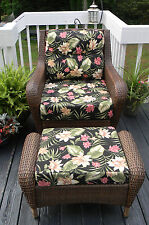 SEAT, BACK & OTTOMAN CUSHIONS FOR DEEP SEATING-BLACK PINK GREEN TROPICAL FLORAL