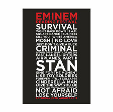 Eminem Reading Festival 24th August 2013 Set List Poster, A4 & A3