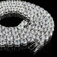 18k White Gold 1 Row 5MM Lab Diamond Iced Out Chain Men's HipHop Tennis Necklace