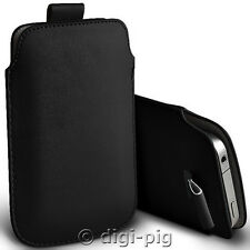 BLACK (PU) LEATHER PULL TAB POUCH CASES FOR LATEST RANGE OF MOBILE PHONES