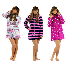 FOREVER DREAMING Womens Ladies Lounge Bed Jacket Zip Tunic Nightwear Fleece