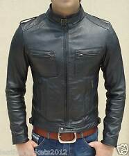 Mens Retro Style Black Leather Jacket Faux & Genuine Leather Slim Fit All Sizes