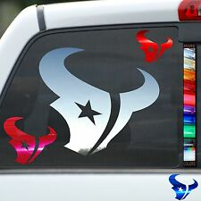 Texans Chrome Mirror Finish Car Sticker Auto Window Decal Jeep Helmet Wall Truck