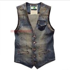 Men Distressed Ripped Waistcoat Denim Slim Fit Jean Vest Gilet Vintage Blue New