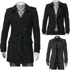 NEW Men's Slim Fit Double Breasted Trench Coat Winter Warm Long Jacket Overcoat