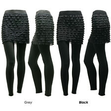 Womens Ladies Chiffon pleated lace mini skirt leggings Black, Grey