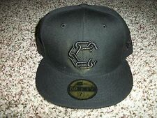 CROOKS AND CASTLES New NWT Mens Fitted Era 59 Fifty Black Hat Cap 7  1/8 1/4