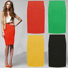 Womens Ladies Fitted Business Knee Long Slimming High Waist Bodycon Pencil Skirt