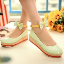 Womens Bowknot Wedge Heel Platform Creeper Ankle Strap Mary Janes Pumps Shoes
