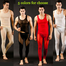 Sexy Men's Gauze Sheer One Vest & one Long Johns Thermal Underwear Set S M L