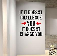 Challenge Yourself Gym Wall Decal Quote Kettlebell Crossfit Workout Boxing Rugby