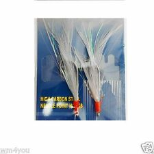 Fishing 2 Hooks Fly Feather RockFish Rigs #3/0 4/0 5/0 White Cod Baits Lures New