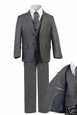 5pc Toddler Boys Kid Teen Gray Formal Wedding Suit Vest Necktie Sets Outfit 2-20