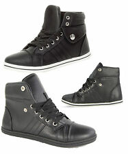 WOMENS LADIES GIRLS LACE UP PLIMSOLL SPORTS HIGH HI TOP PUMPS TRAINERS SHOES