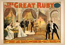 Photo Printed Old Poster: Vintage Stage Drama Flyer Theatre Show The Great Ruby