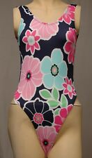 Multicolored Flower Pattern Thong Leotard for Women size 10 Small or 12 Medium