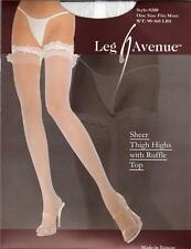 VARIOUS COLOURS Sheer Thigh High Hold Up Stockings With Sex y Lace Ruffle Tops